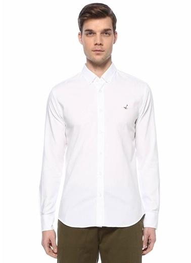 Beymen Club Beymen Club Slim Fit  Düğmeli Yaka Oxford Gömlek 101597433 Beyaz